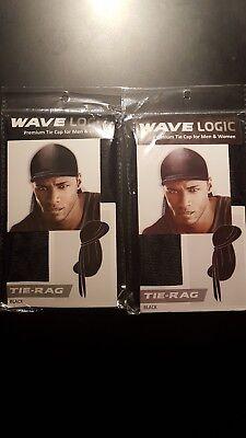 2 NEW BLACK WAVE LOGIC NEW PREMIUM TIE CAP FOR MEN & WOMEN MACHINE WASHABLE POLY