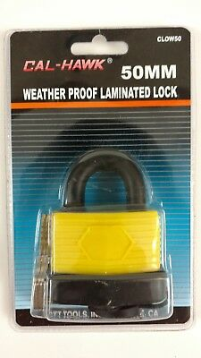 Cal Hawk 50mm Weather Proof Laminated Lock Cl0w50 Sheds Gates Pu Cover Yellow