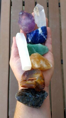 GemFarmer CS1: Large Chakra Stones Set: 7 Rough Crystals & Raw Selenite Stick