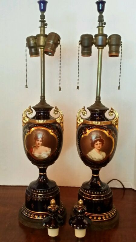 Wonderful Pair of Antique Royal Vienna Lamps