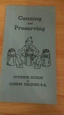 1945 CANNING AND PRESERVING 14th Edition Booklet GUNNAR AHLQUIST CO Minnesota