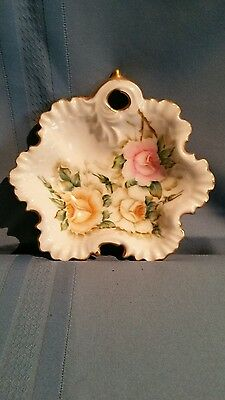 Vintage 1957 Trinket Dish Hand Painted Rose Design w/ Scalloped Gold Edges