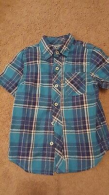 Arizona jeans co. boys 5 plaid collared button down shirt blues