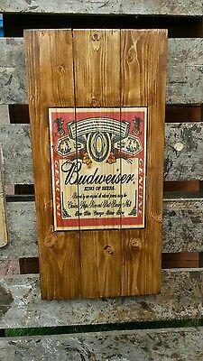 Budweiser sign plaque wooden sign  mancave shed bar pub