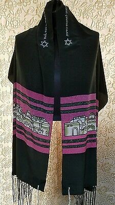 Talit, Tallit, Prayer Shawl - 3 pc. SET - Hand Painted Silk - Made in Israel