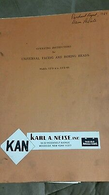 Karl A. Neise Operating Instructions For Facing And Boring Heads