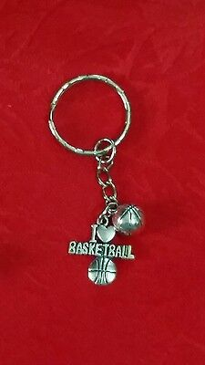 "I LOVE BASKETBALL ANTIQUE SILVER CHARM KEYCHAIN - SPORTS - 2 7/8""H"