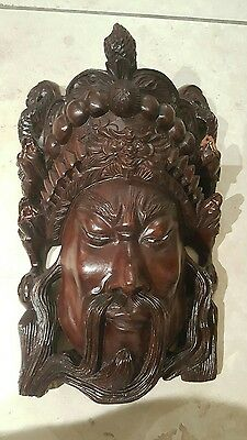 Awesome Large Chinese Hard Wood Carved Mask