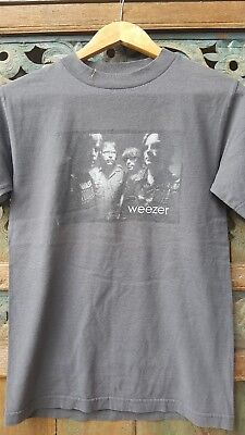 Weezer band concert photo shirt, gray, 1990's, Giant tag, rare size S