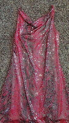 Costume With Red Dress (Sexy red snake print dress with silver sequins sz large)