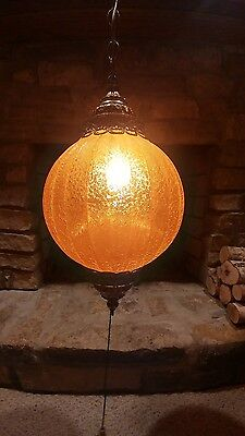 VINTAGE HANGING AMBER GLASS GLOBE SWAG LIGHT MID CENTURY MODERN