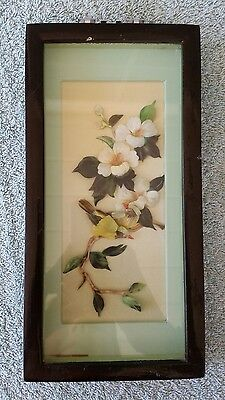 VTG Asian Oriental Hand Carved Shell Art Shadow Box Picture Birds Flowers Framed