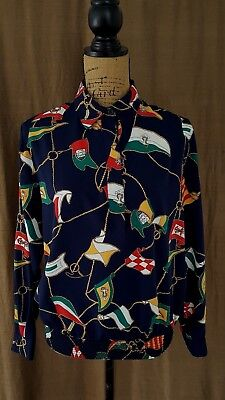 Vintage 80's Size 12P Nautical Flags Print Polyester Banded Bottom Navy Blouse