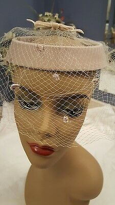 Vintage Ladies Hat 1960s Velvet Netting Circle Hat Beige