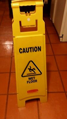 Rubbermaid 6114 Caution Wet Floor 4-sided Floor Sign Yellow Rcp611477yel