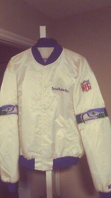 Vintage Seattle Seahawks Throwback Satin Starter Jacket xxl 2xl Mint! White