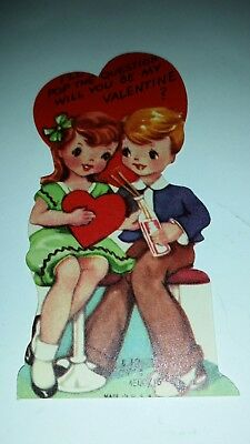 Vintage Valentine Card I'll Pop The Question Used Card