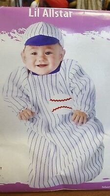 Lil Allstar Baseball Player Bunting Costume Girl Infant Toddler Fun World 9770