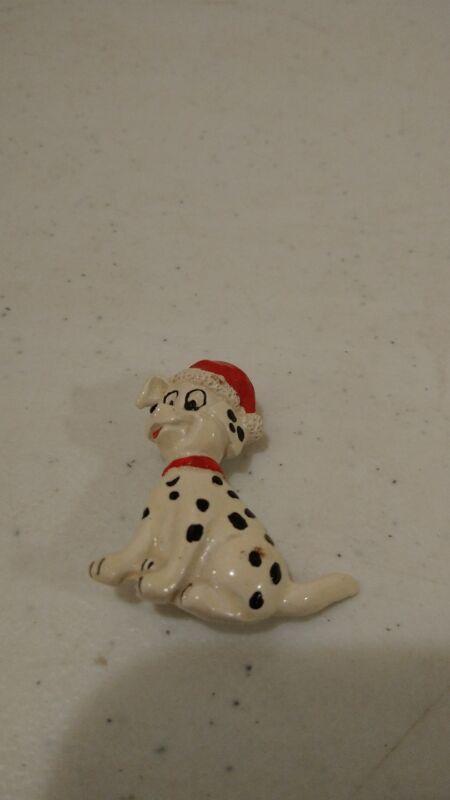 Disney 101 Dalmatians Puppy with santa hat enameled ceramic pin Christmas
