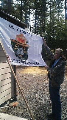 """SPECIAL SMOKEY BEAR  FLAG.    COMMERIAL OR HOME USE.   36"""" X  60""""  NYLON"""