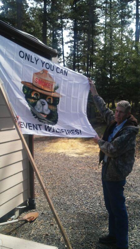 "A SMOKEY BEAR  FLAG. Home use.Campground hosts.Ranger Stations.36x60""  Nylon"