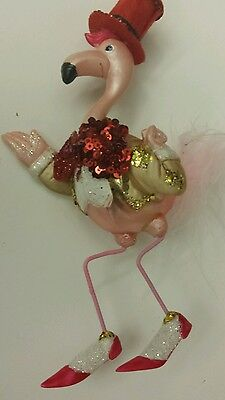 Flamingo Dude In Red Top Hat Glass Christmas Holiday Ornament 6.75 Inches