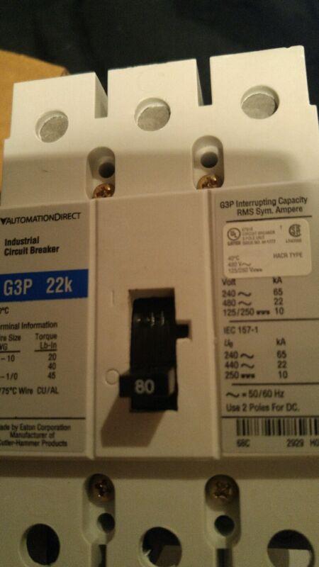 EATON / Automation Direct Circuit Breaker MCCB, 80A 3P, 480VAC, G-FRAME