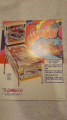 GOTTLIEB SPIN OUT. NOS PINBALL MACHINE SALES FLYER BROCHURE. BALLY. WILLIAMS