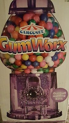 Carousel Gum Worx Gumball Machine Bank Purple Acrylic NIB