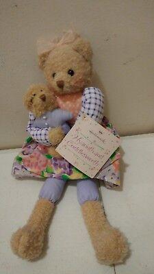 "14"" Hallmark Hyacinth & Cuddlesworth Stuffed Plush Bear Holding Baby with tag"