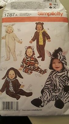 Simplicity Pattern #1767 Baby/Infant Halloween Costume Bunny Tiger Bear Zebra  - Simplicity Infant Halloween Costume Patterns