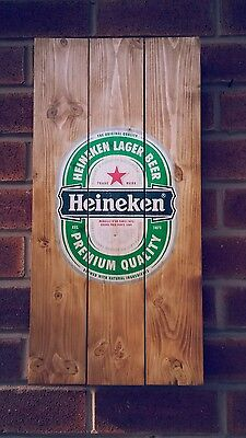 Heineken sign plaque wooden sign  mancave shed bar pub
