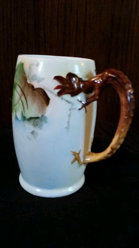 Antique  Hand Painted Grapes & Gold n Brown Dragon Handle Stein/Mug Bavaria