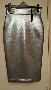 BNWTs River Island Silver Iridescent Petrol Print Midi Pencil Skirt Size 8 Metal