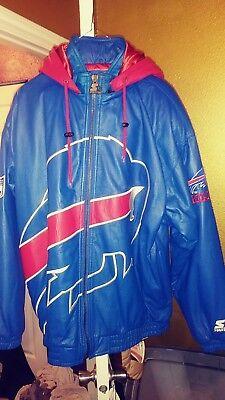 Vintage Buffalo Bills Full Logo Throwback Leather Parka Starter Jacket XL Rare!