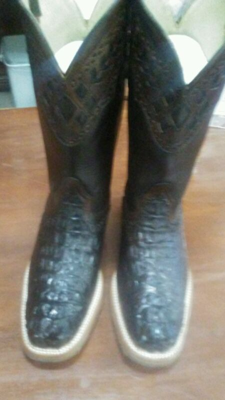Mens, cowboy, boots, hornback, caiman, alligator, Dark, Brown, square, toe, , 9EE