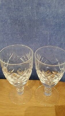 2 Royal Doulton/Webb Corbett Crystal Sherry glasses with Crown on base