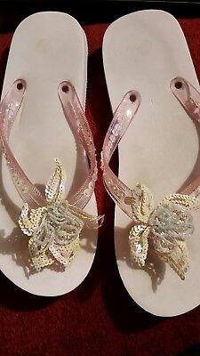 UK Girl Ladies Slip On Mules Flip Flops Sandals Sliders Flats Bead Sequin Flower Sequin Flower Flip Flops