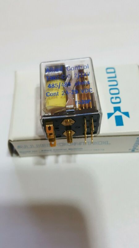 (QTY-2) GOULD / ALLIED CONTROLS  2PDT 2/24V 2A   Dual Latch Relay New (NOS)