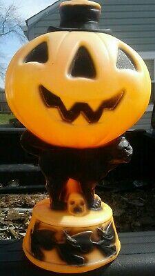 Vintage Halloween Trick or Treat Black Cat Pumpkin Blow Mold with skull