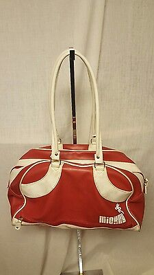 Disney Mickey Mouse red white zippered bowling duffle faux leather satchel bag