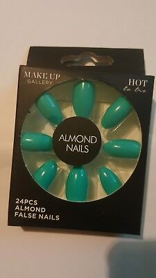 2 x ALMOND FALSE S -NAIL FAKE ✔ STICK ON ✔  COLOUR Turquoise  WITH  24 PCE SET