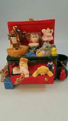 Large Toy Box with bear doll drum elephant duck horse monkey Ceramic Trinket Box