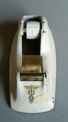 Vtg Permacel Cast Iron Desktop Tape Dispenser White