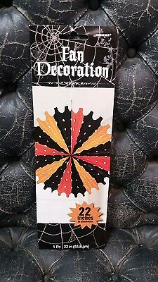 Halloween ORANGE & BLACK TISSUE PAPER PARTY HANGING FAN DECORATION NEW LARGE  (Halloween Tissue Paper Decorations)