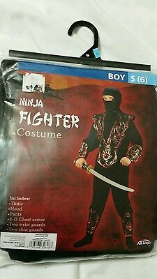 Childs NINJA Fighter Black Halloween Ninja Costume Fun World Boys Small (6) - Black Ninja Boy Fighter Child Halloween Costume