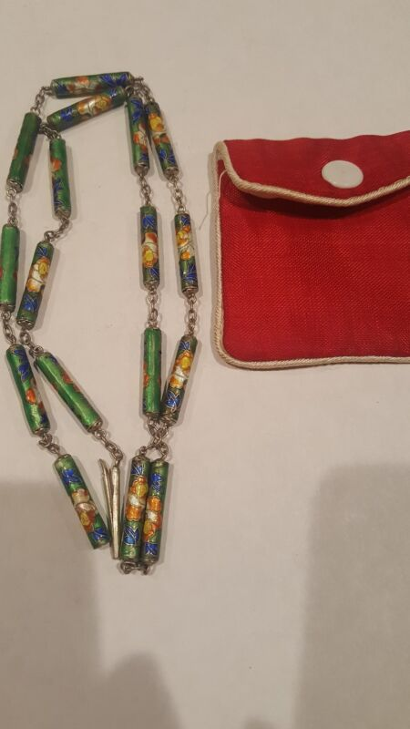VINTAGE ANTIQUE STERLING CHINESE SILVER 925 CLOISONNE ENAMEL NECKLACE 24""