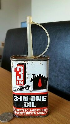 Vintage 3 in One 100ml Empty Oil Can in Excellent Condition with Patina of Age