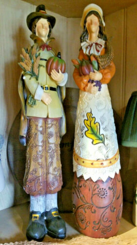 "New Pair of Tall 16"" Thanksgiving Pilgrims Resin Figurines"