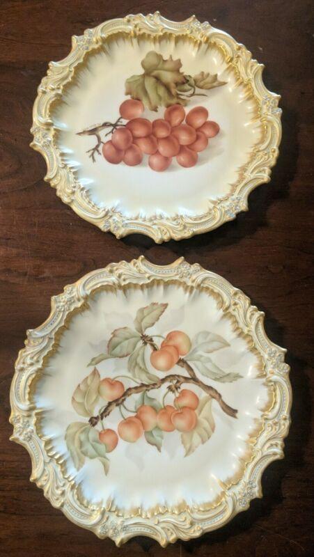 Pair Tressemann & Vogt French Limoges Cabinet Plates Fruit & Gold Gilt